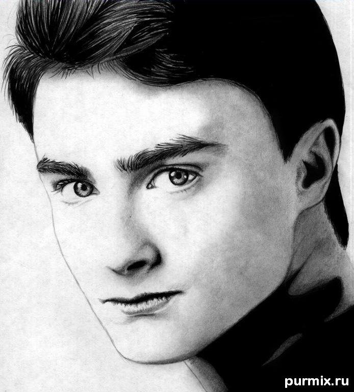 How to draw Daniel Radcliff's portrait on paper step by step