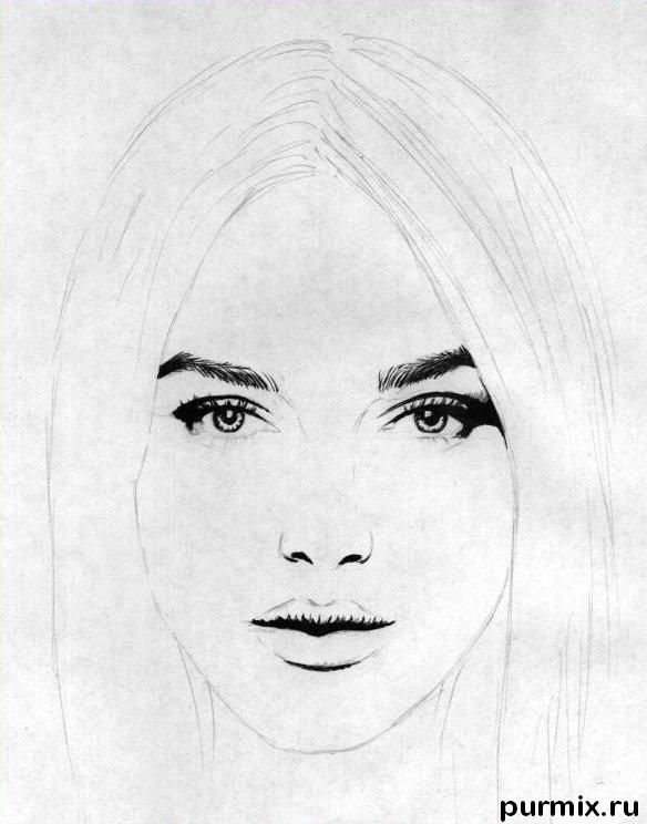 How to draw Selena G?mez's portrait with a simple pencil 2