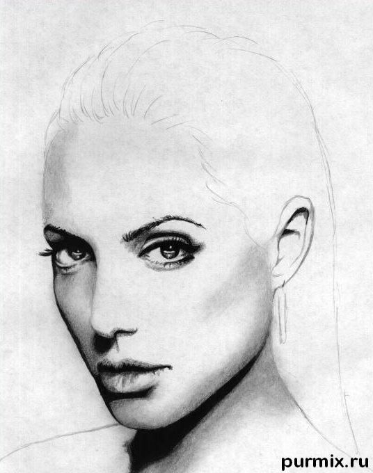 How to learn to draw angelina jolie 39 s portrait a simple pencil - Jolie dessin a faire ...