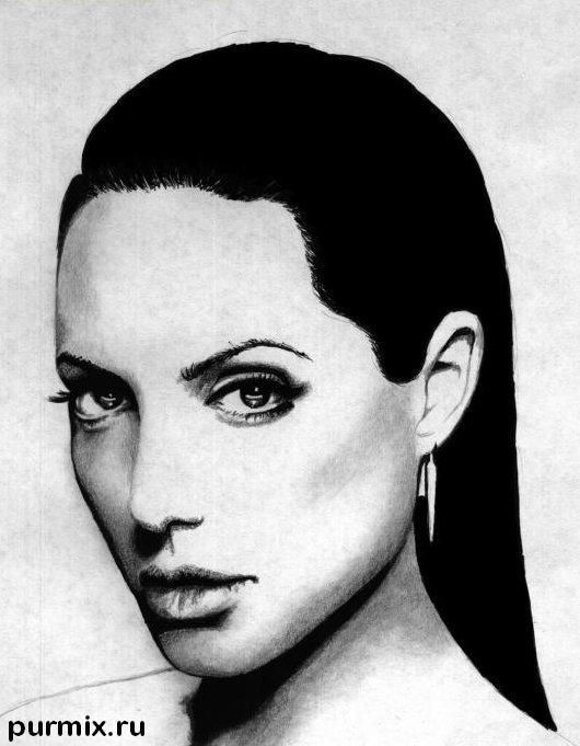How to learn to draw Angelina Jolie's portrait a simple pencil