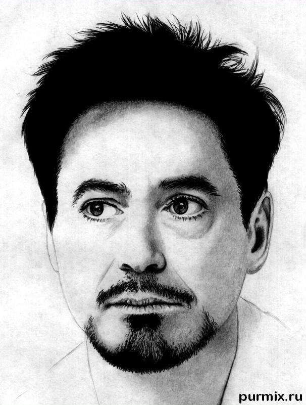 How to draw Robert Downey Jr. portrait with a simple pencil step by step