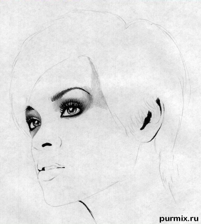 How to learn to draw a portrait Lady Gaga a simple pencil 3