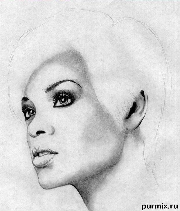 How to learn to draw a portrait Lady Gaga a simple pencil 4