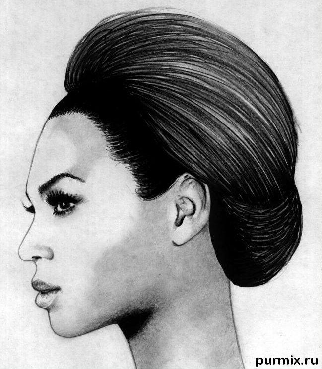 How to draw Beyonce's portrait with a simple pencil step by step