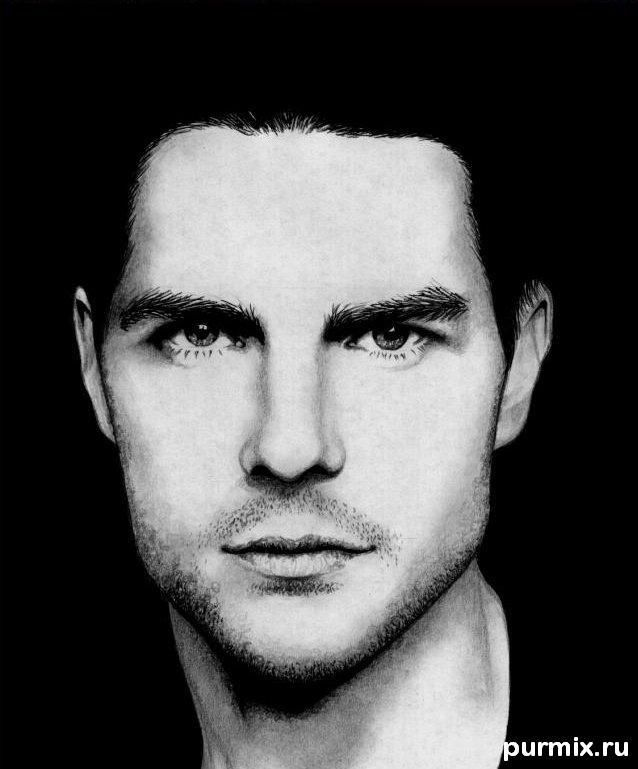 Como dibujar el retrato de Tom Cruise por el l?piz simple sobre el papel