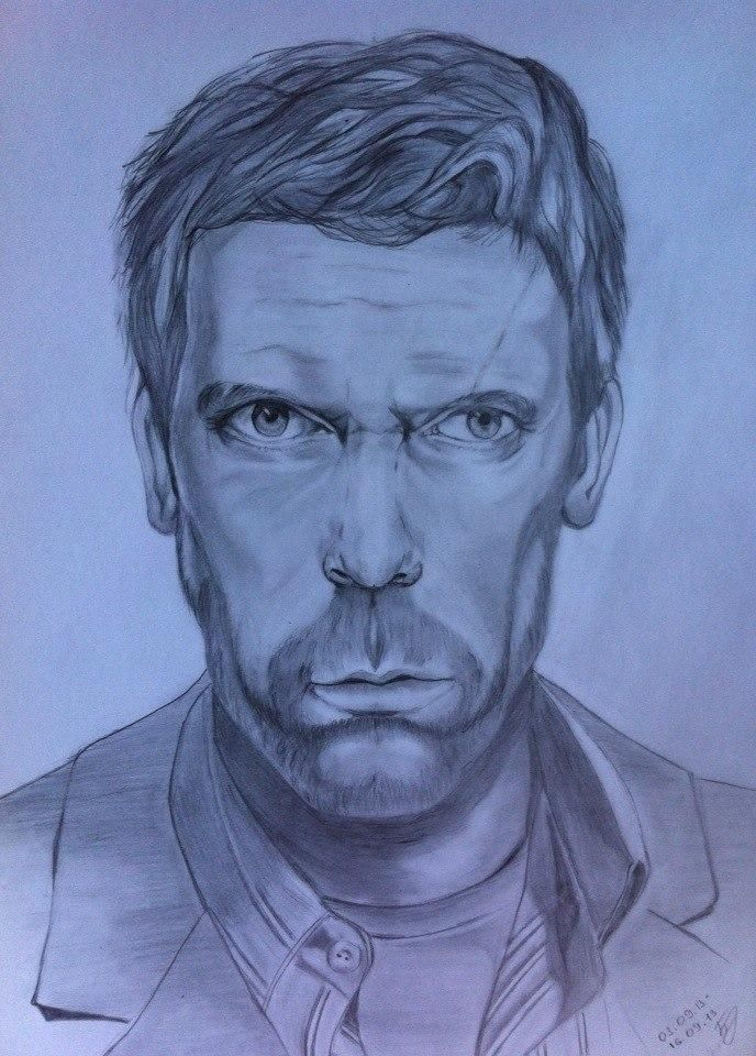 How to draw a portrait Hugh Laurie (Doctor House) with a pencil step by step
