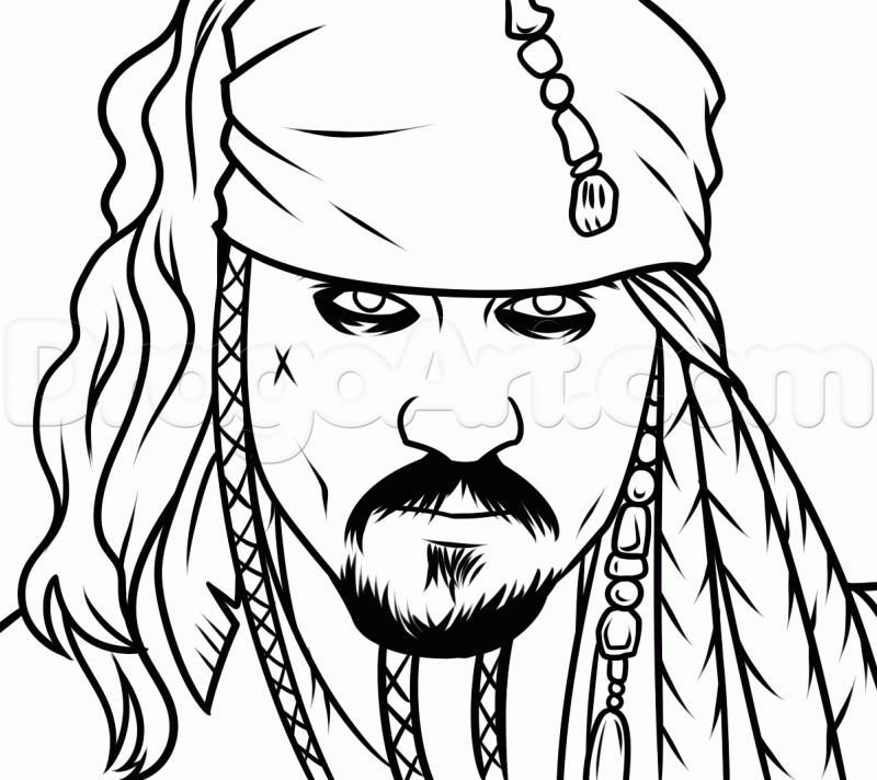 How to draw Jack Sparrow's portrait with a pencil step by step