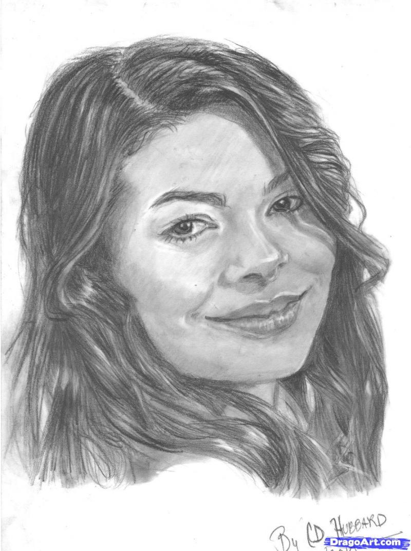 How to draw Miranda Taylor Kosgrouv's portrait with a pencil