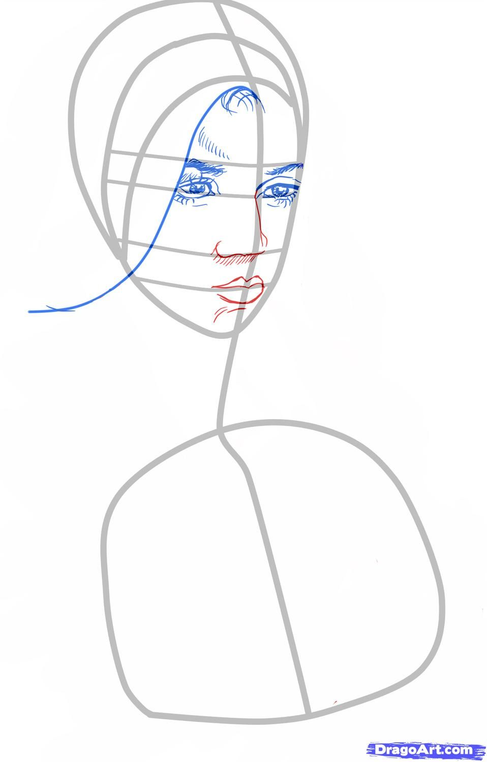 How to draw Stephane Salvatore's portrait with a pencil step by step 3