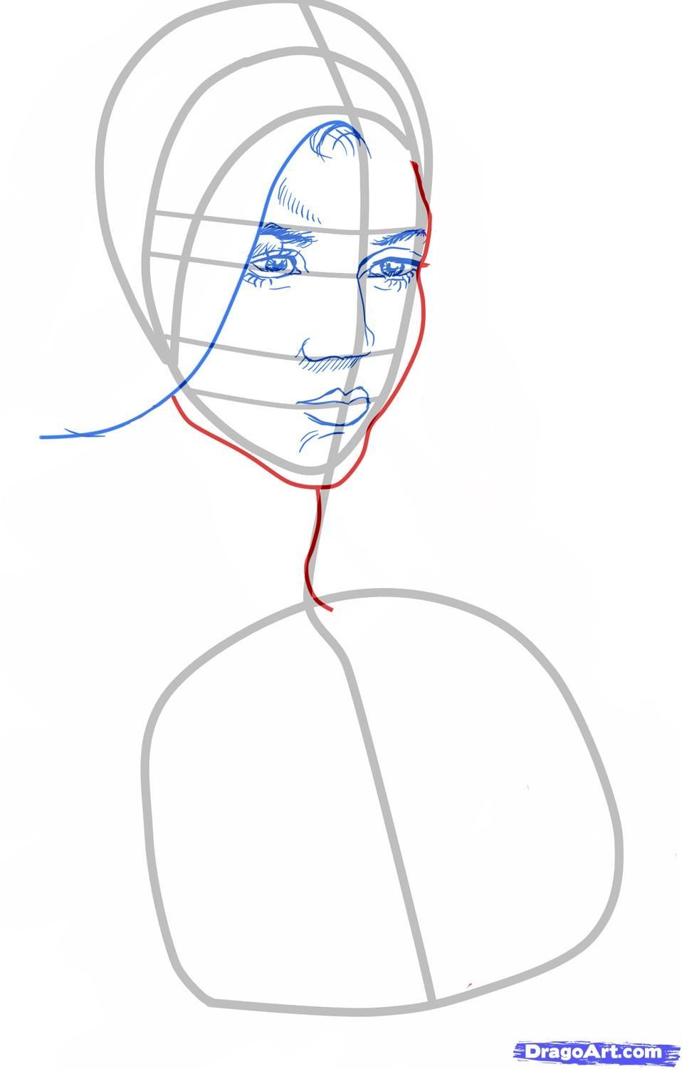 How to draw Stephane Salvatore's portrait with a pencil step by step 4