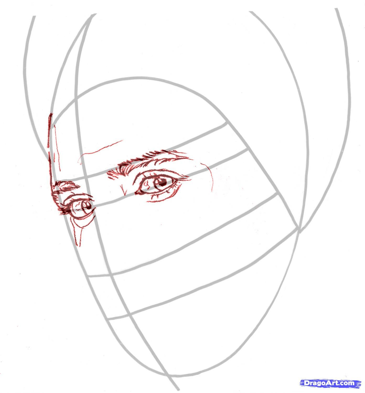 How to draw Rosalie Cullen's portrait with a pencil step by step 3