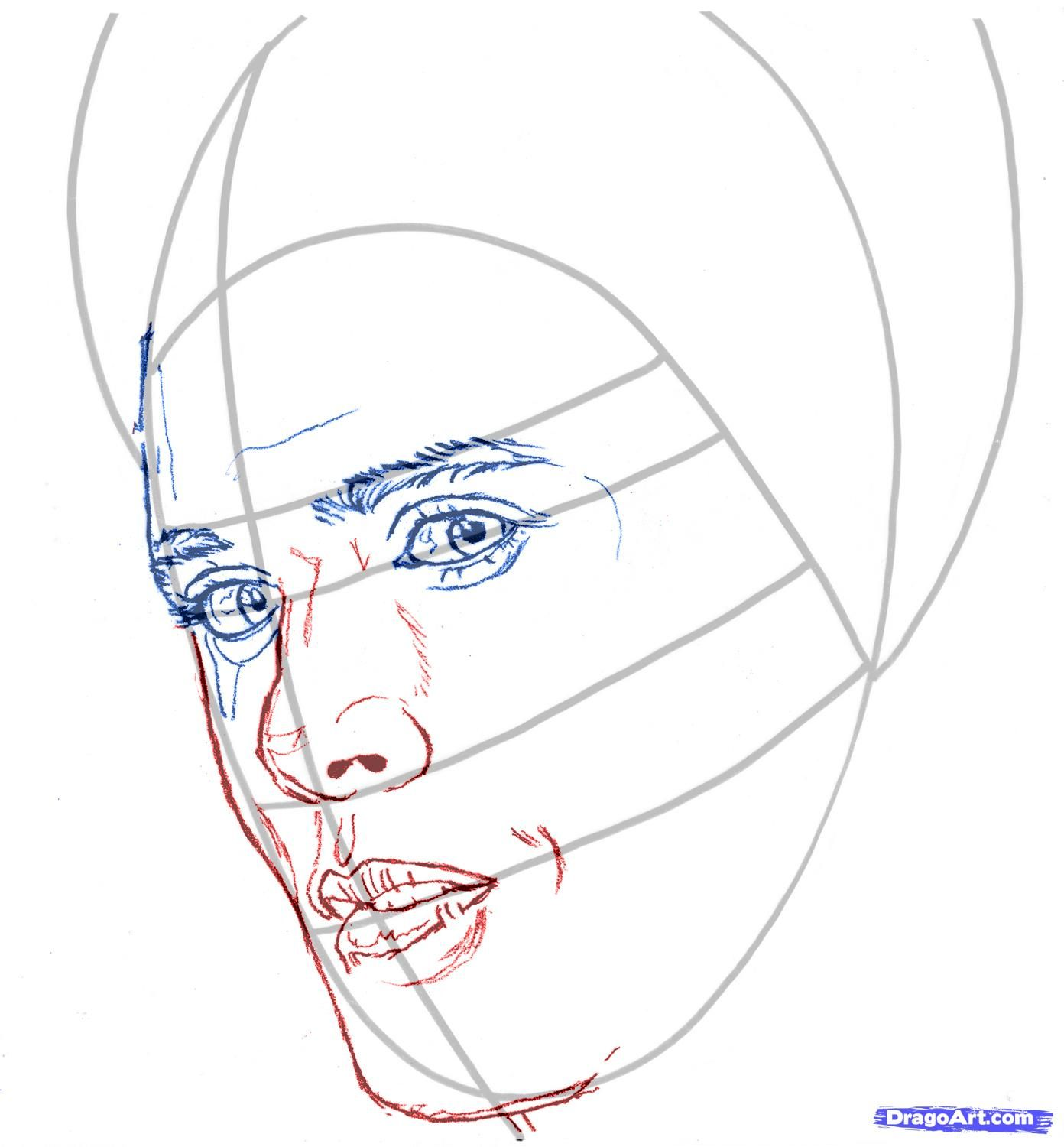 How to draw Rosalie Cullen's portrait with a pencil step by step 4