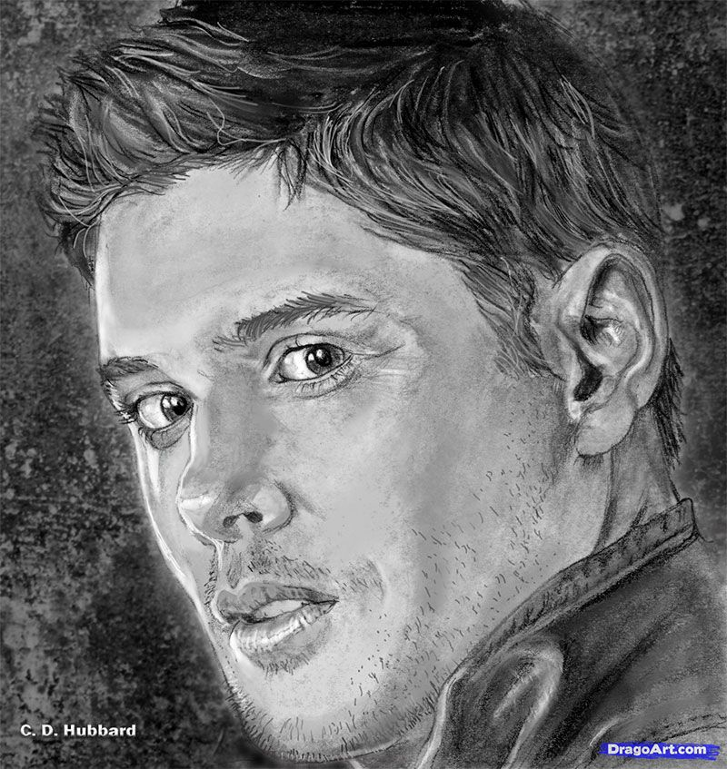 How to draw Jensen Eklz's portrait with a pencil step by step