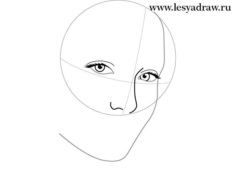 How to draw Jennifer Lawrence's portrait from Hungry games with a pencil step by step 2