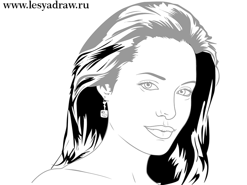 How to draw Jennifer Lawrence's portrait from Hungry games with a pencil step by step 5