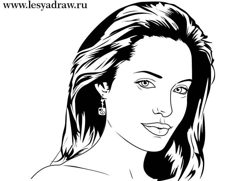 How to draw Jennifer Lawrence's portrait from Hungry games with a pencil step by step 6