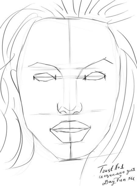 How to draw a portrait Mila Kunis with a pencil step by step 5