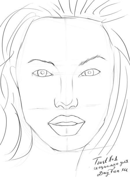 How to draw a portrait Mila Kunis with a pencil step by step 6