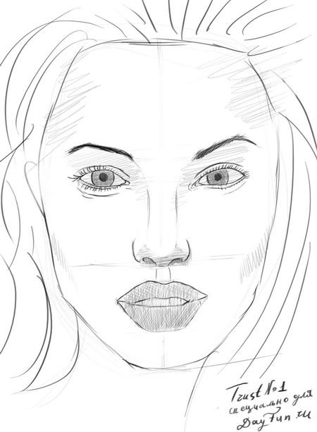 How to draw a portrait Mila Kunis with a pencil step by step 7