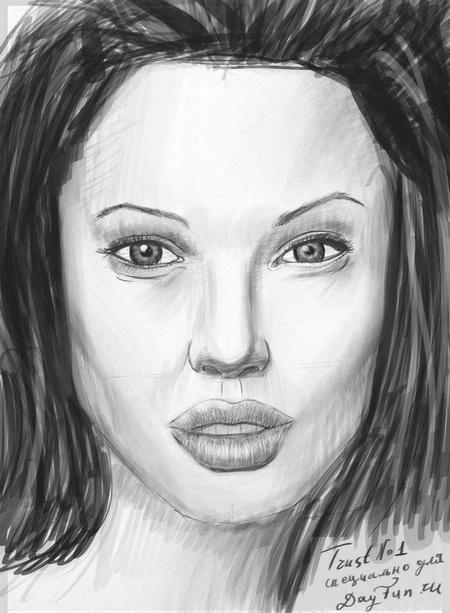 How to draw Angelina Jolie's portrait with a pencil step by step