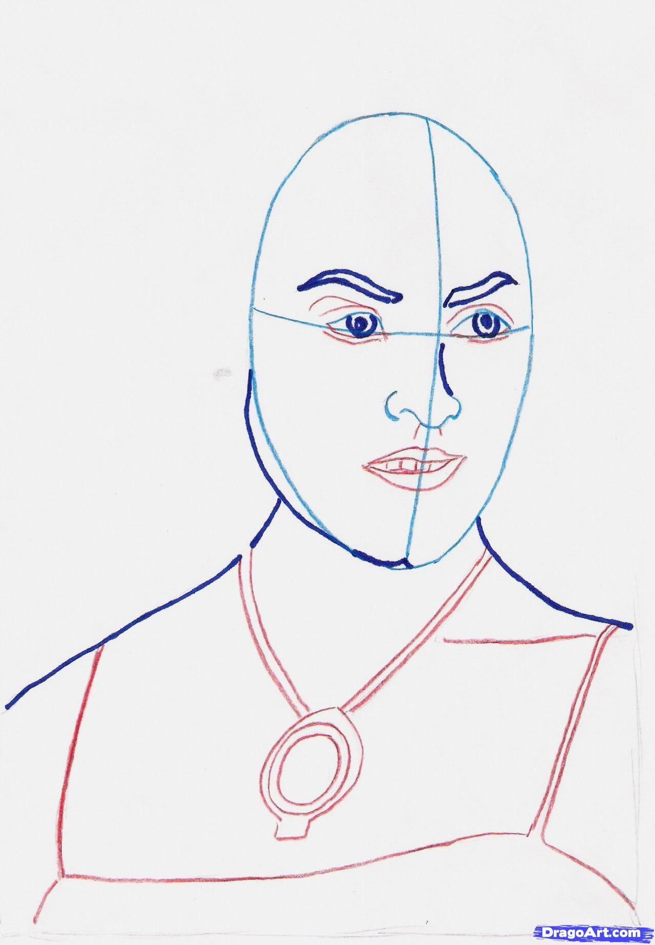 How to draw Olivia Wilde from the movie a throne with a pencil step by step 5