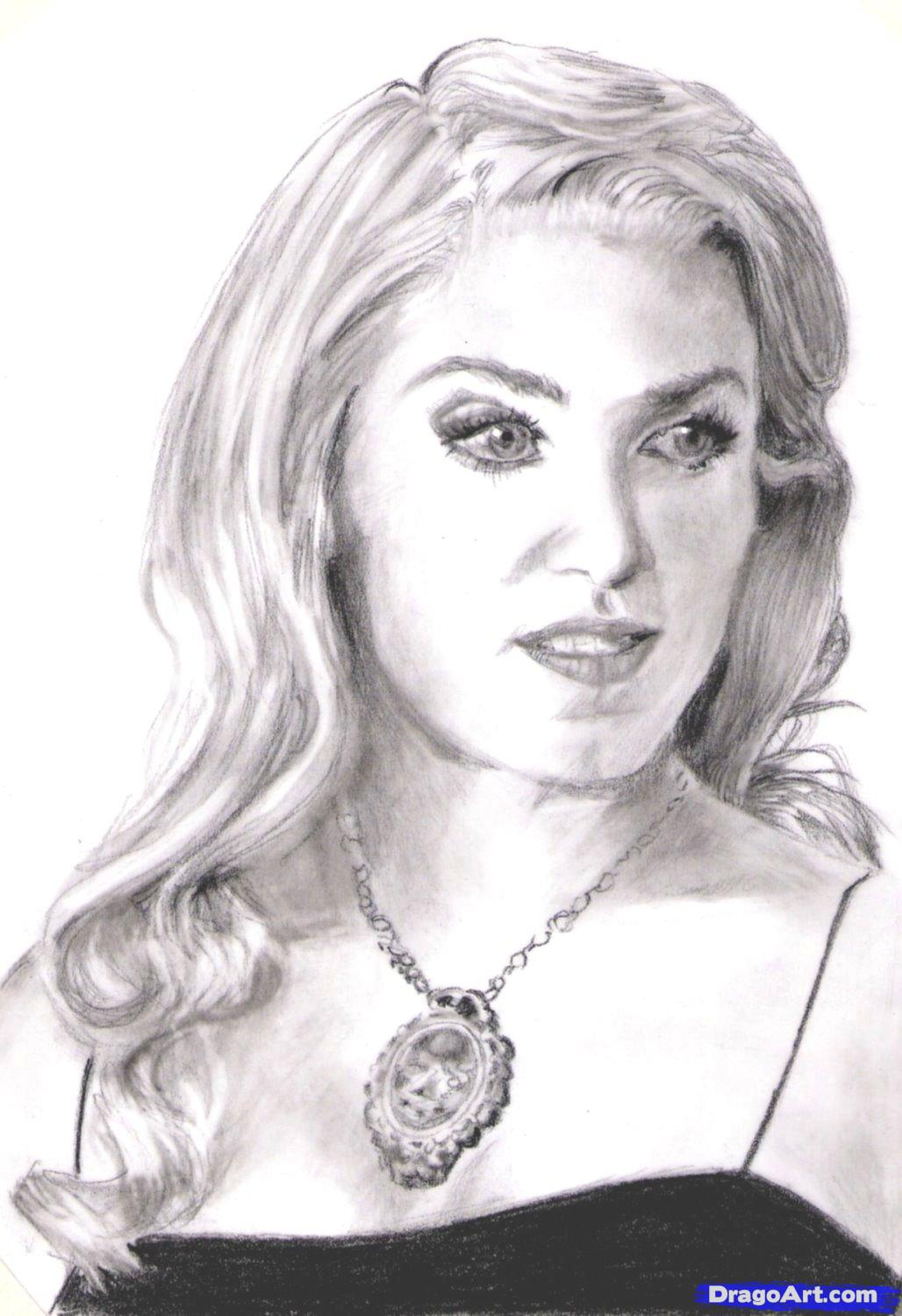 How to draw Rosalie Cullen's portrait with a pencil step by step