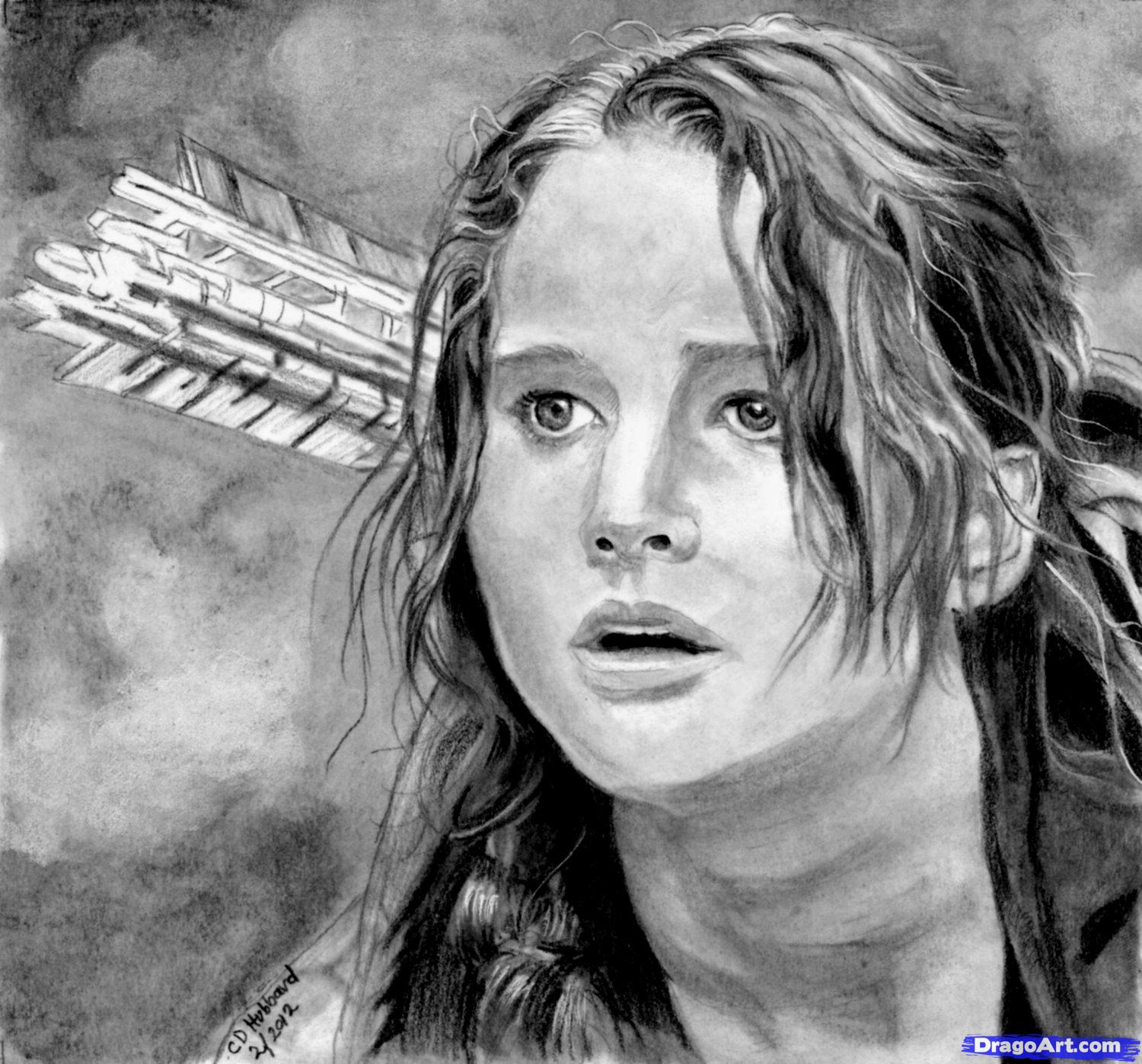 How to draw Jennifer Lawrence's portrait from Hungry games with a pencil step by step