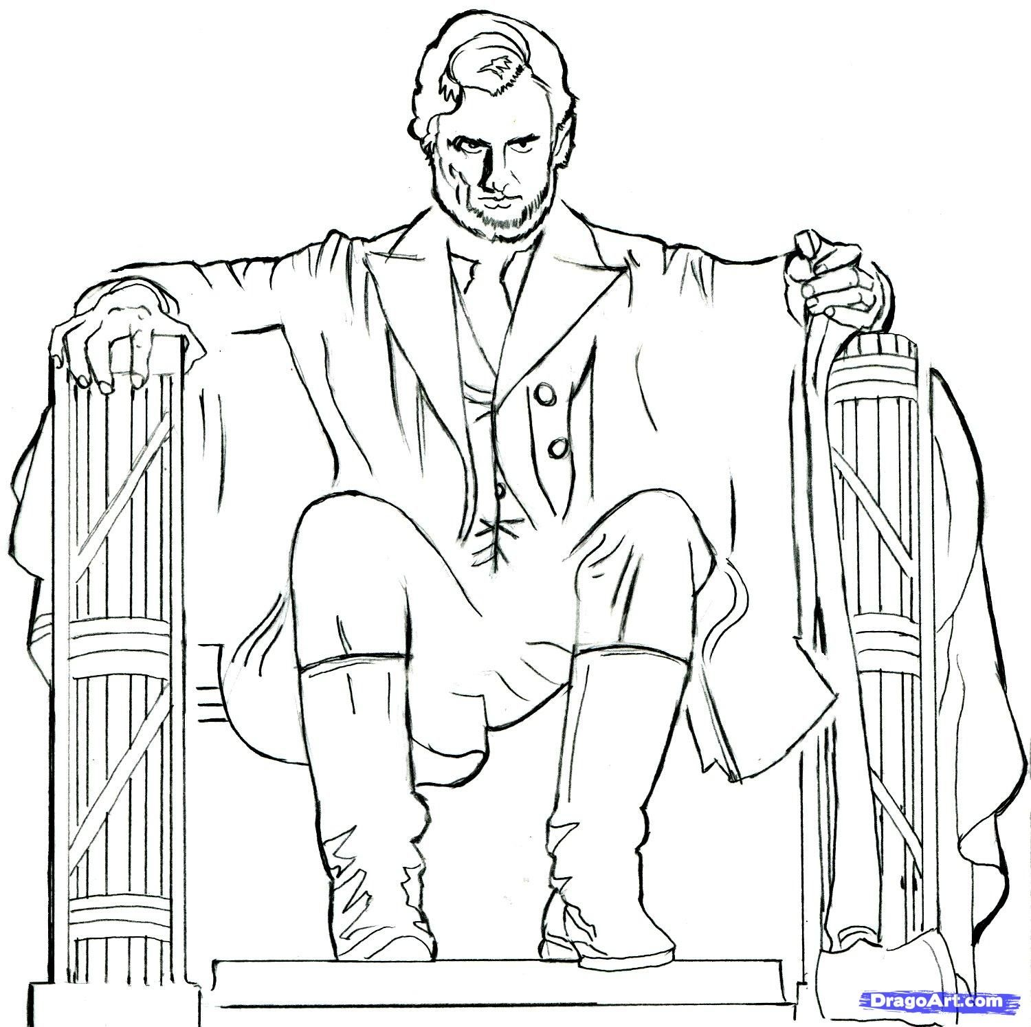 How to draw Abraham Lincoln: Vampires hunter pencil step by step
