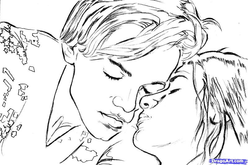 How to draw Romeo and Juliette's portrait with a pencil step by step