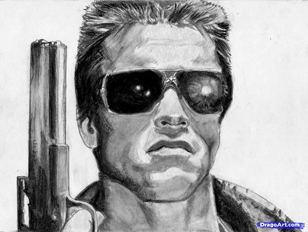 How to draw Arnold Schwarzenegger's portrait from Terminator with a pencil step by step