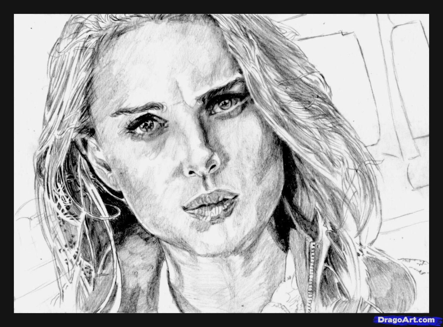 How to draw Natali Portman's portrait with a pencil step by step
