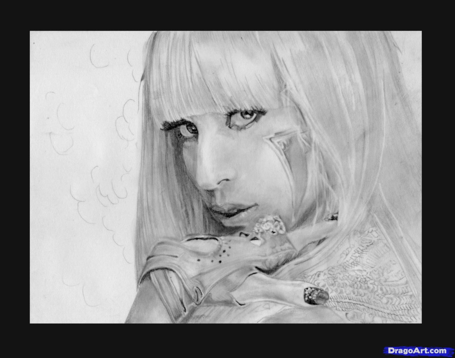 How to draw a portrait Lady Gaga with a pencil step by step