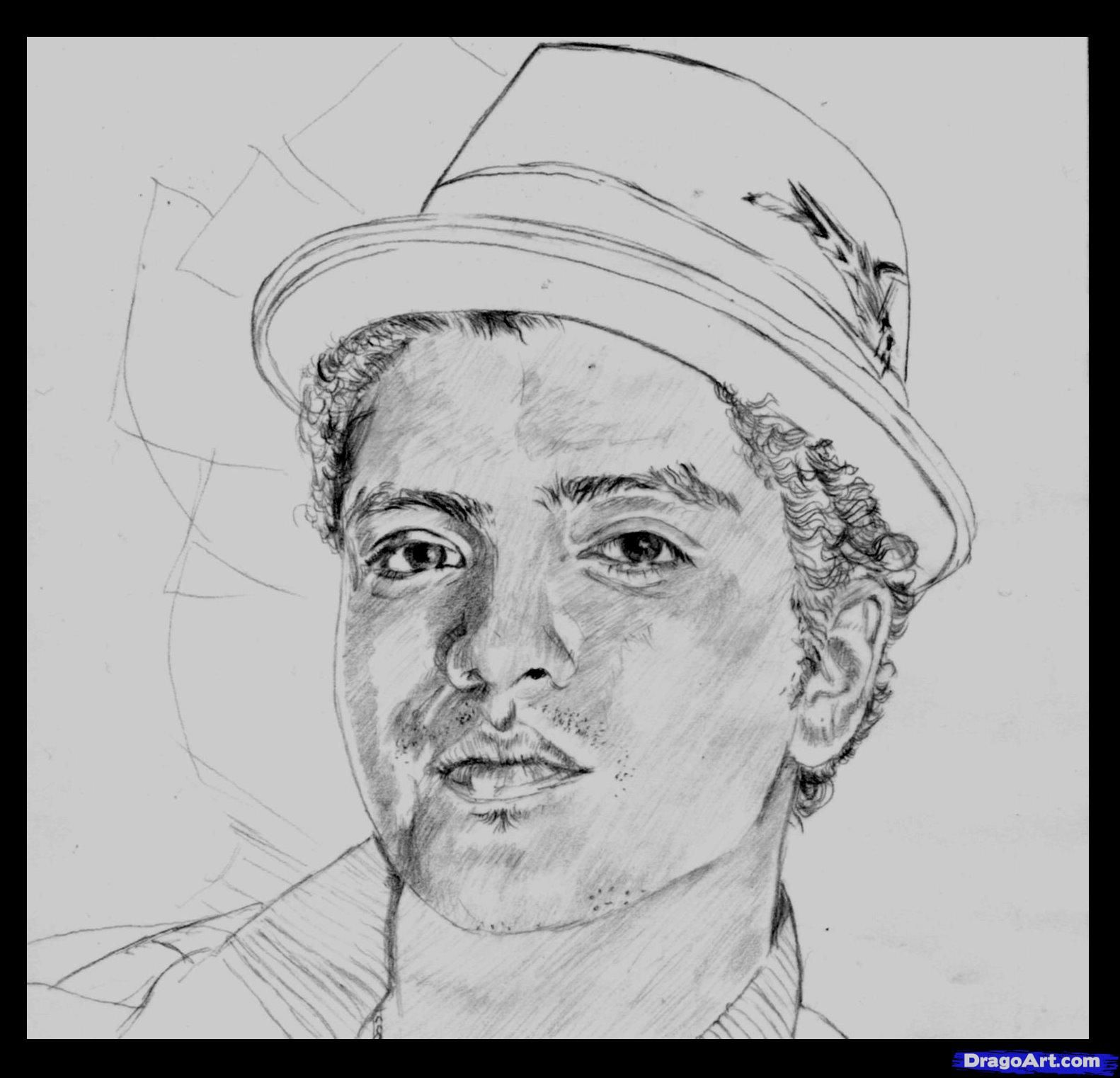 How to draw Bruno Mars's portrait with a pencil step by step