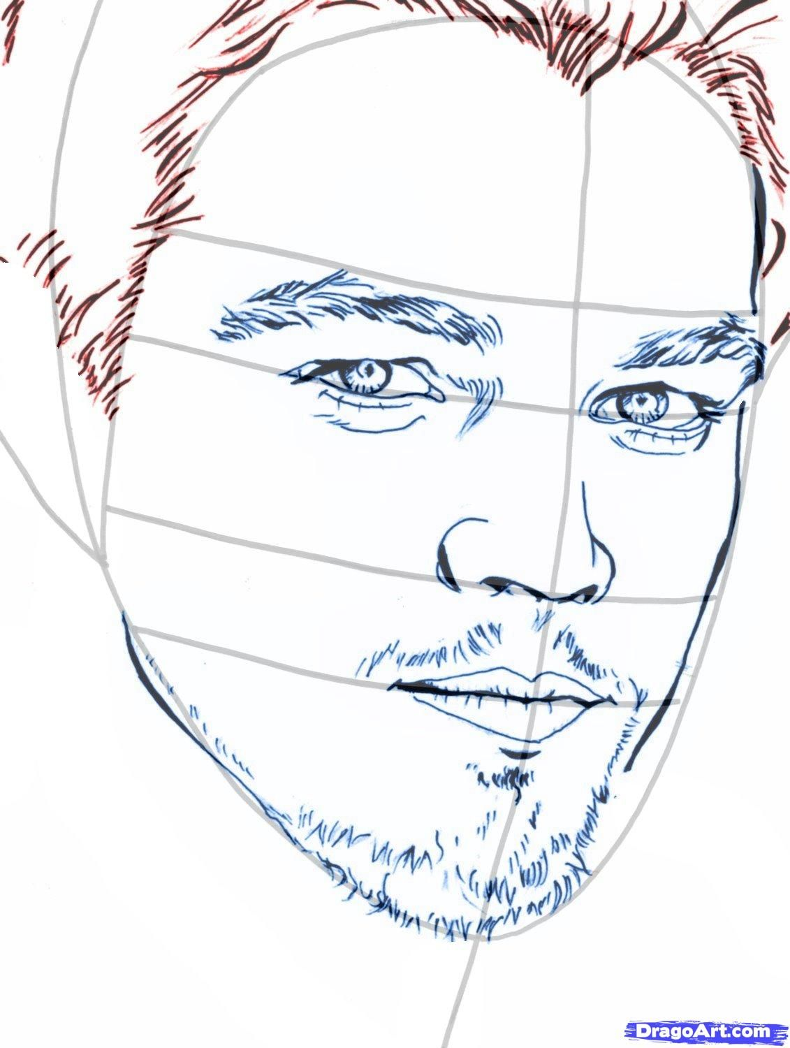 How to draw Damon Salvatore's portrait with a pencil step by step 9
