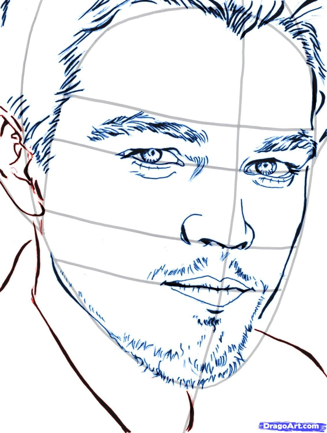 How to draw Damon Salvatore's portrait with a pencil step by step 10