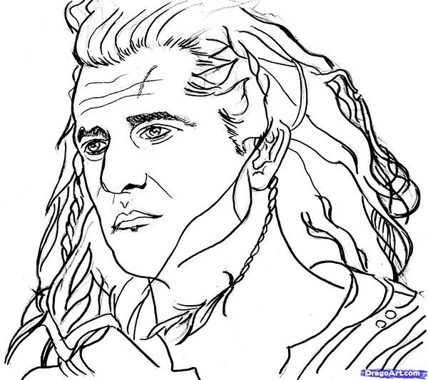 How to draw Mel Gibson's portrait with a pencil step by step
