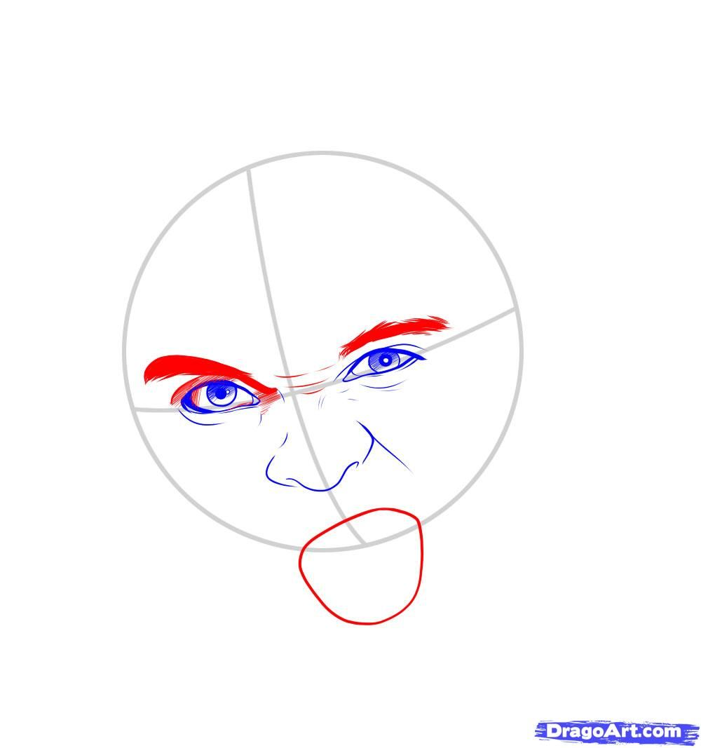 How to draw Merlyn Manson's portrait with a pencil step by step 5