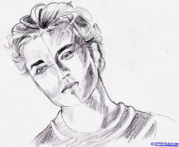 How to draw Robert Pattinson's portrait with a pencil step by step