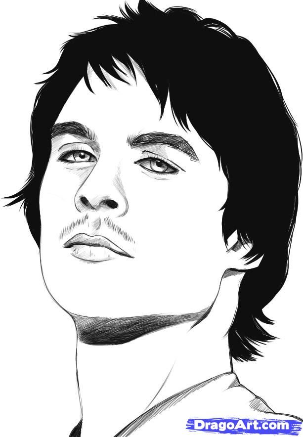 How to draw Damon Salvatore's portrait with a pencil step by step